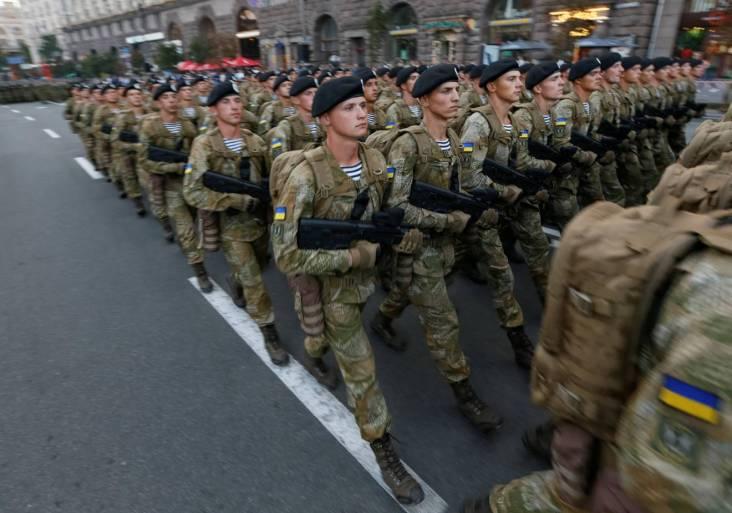 Ukrainian servicemen parade