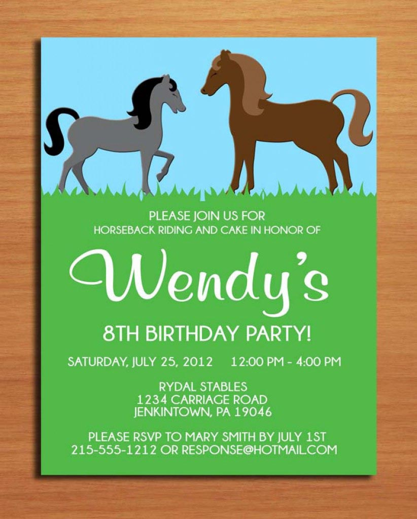 horse birthday party invitations printable free home party ideas