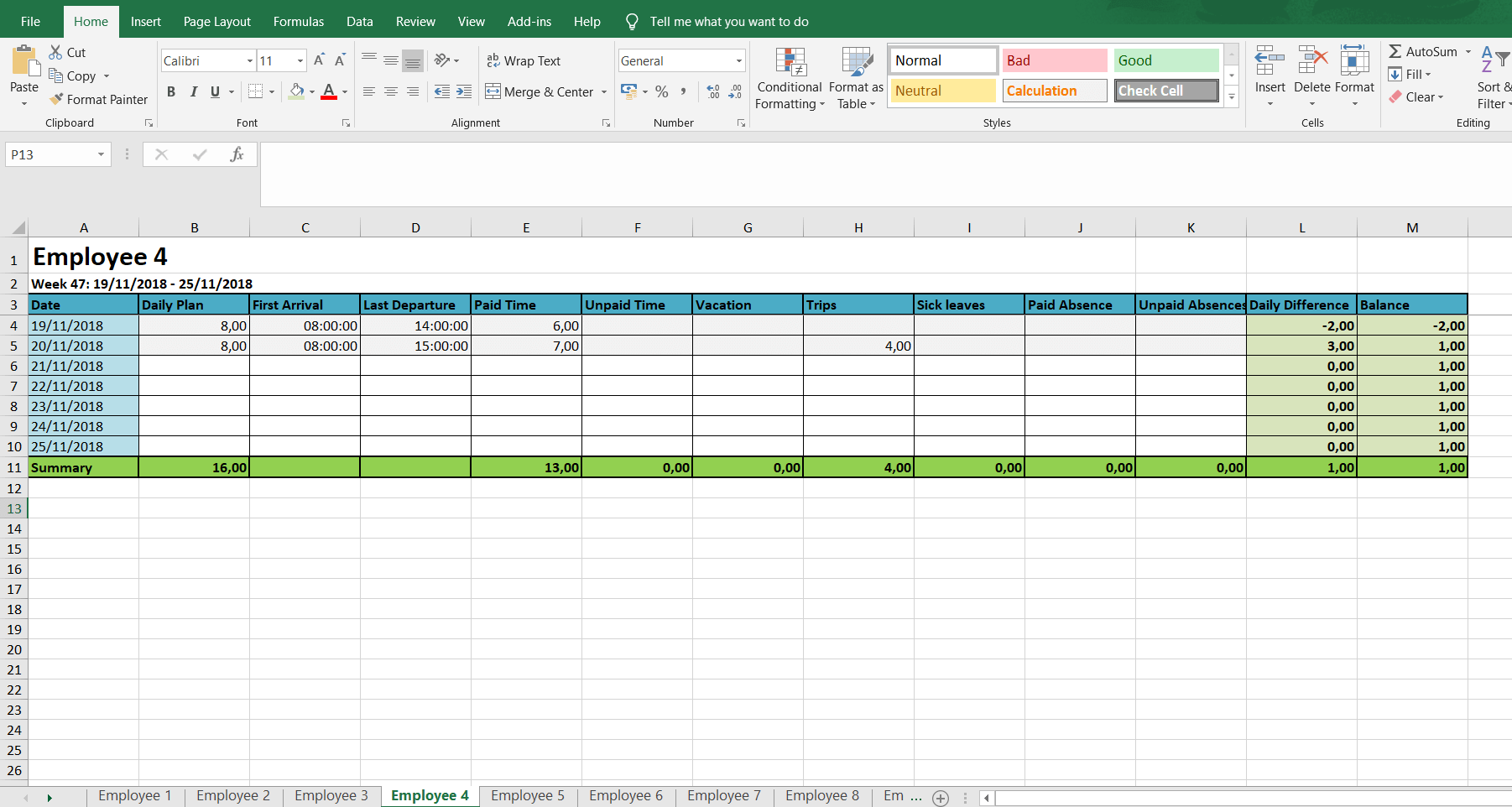 Monthly And Weekly Timesheets