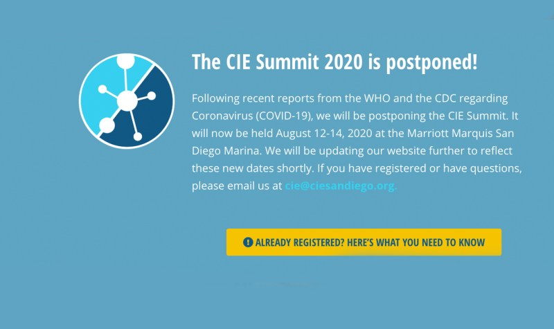 cie summit-postponed message