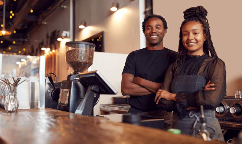 Black couple - coffee shop owners