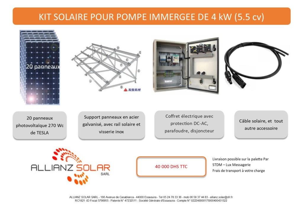 kit solaire pour aliment u00e9 une pompe immerg u00e9e de 4 kw  5 5 cv