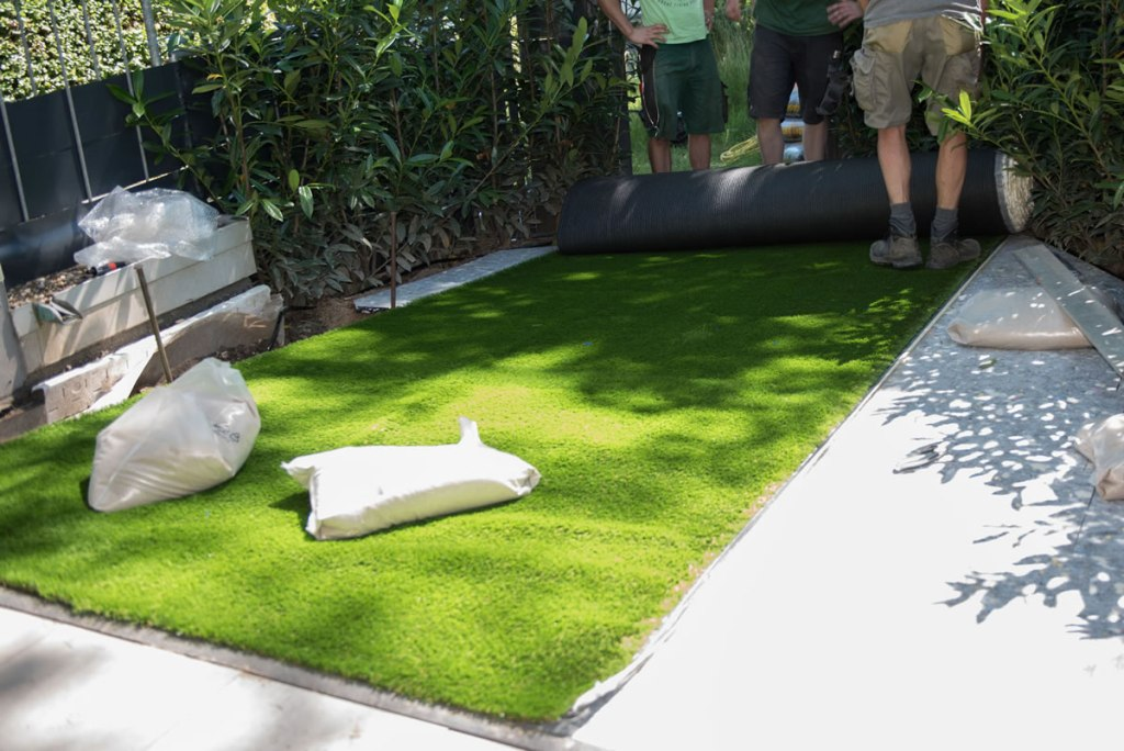 First roll of the artificial layed turf