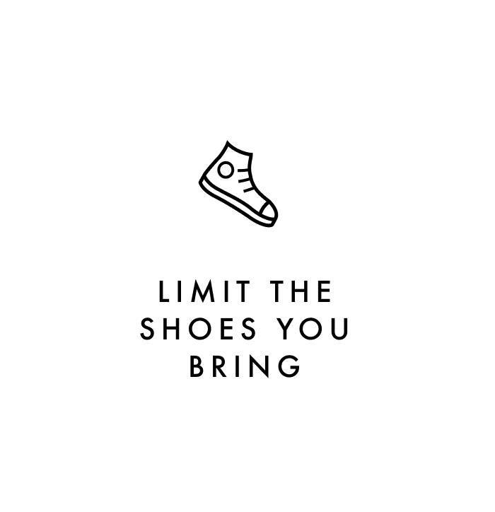 Carry on packing tip #6: Limit the shoes you bring