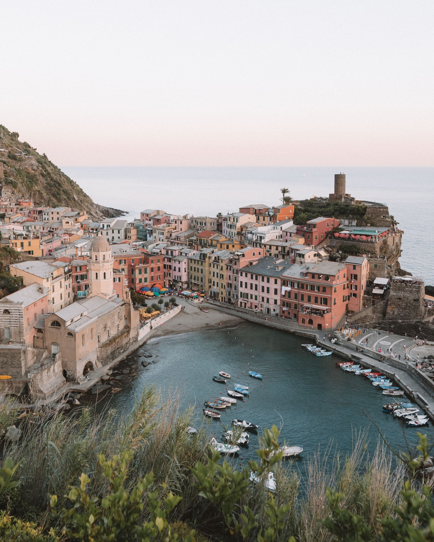 sunset overlooking vernazza italy