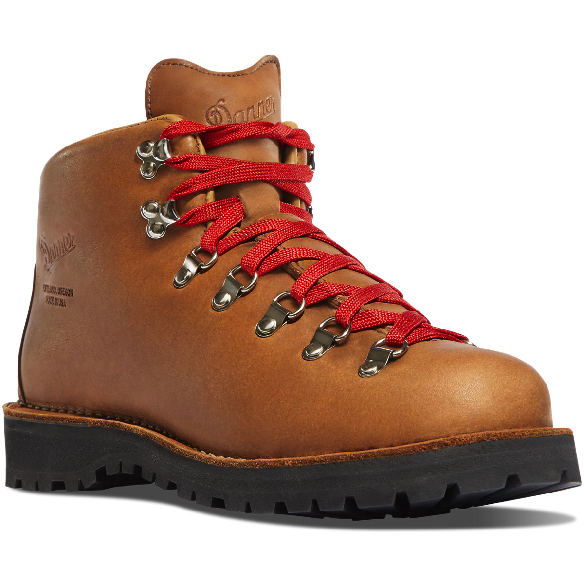 Brown Leather Hiking Boots With Red Shoelaces