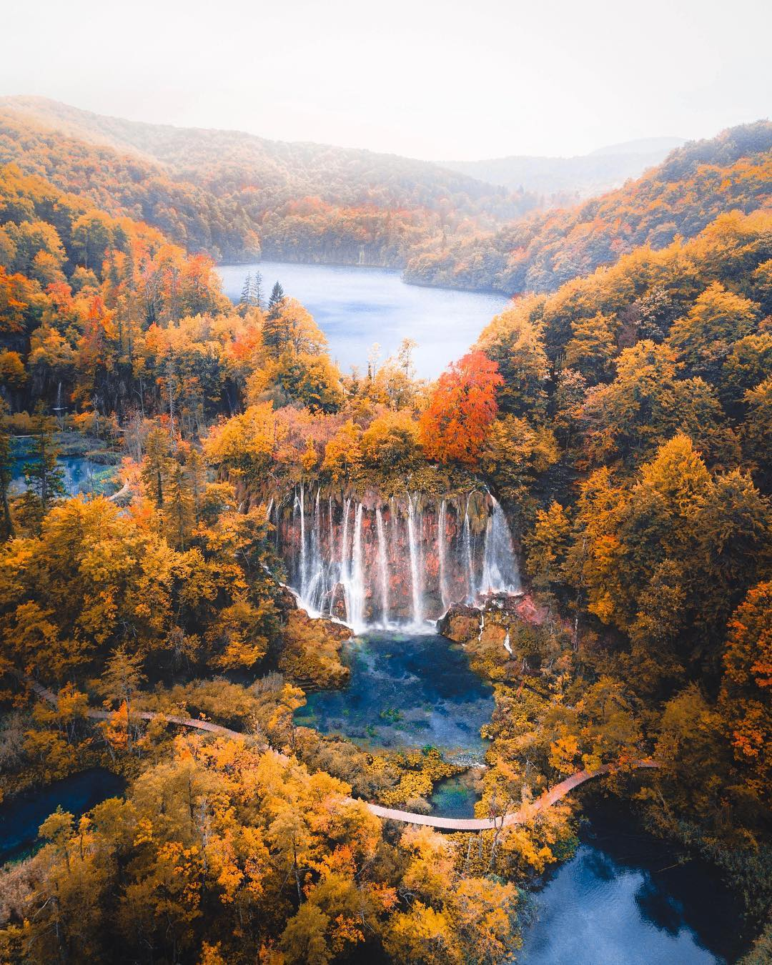Fall colors surrounding a waterfall and lakes in Croatia