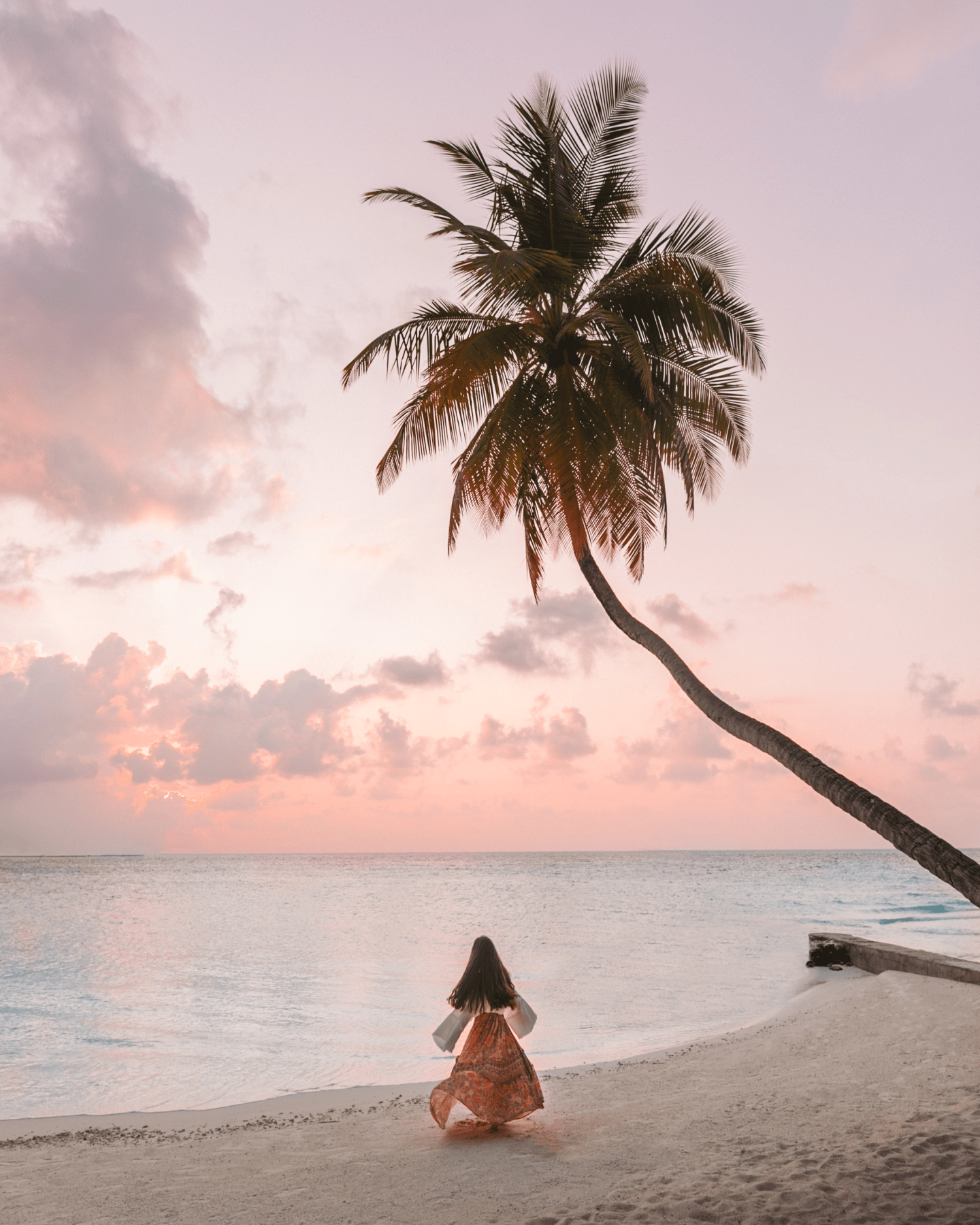 Pastel sunset with girl and palm tree in the maldives