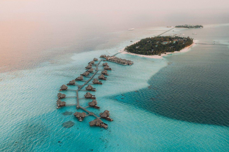 Drone view above Conrad Maldives Rangali Island