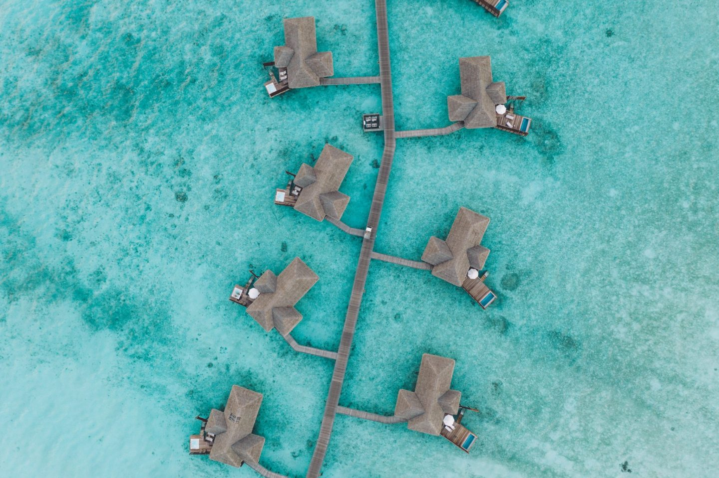 Overhead view of the water bungalows at Conrad Rangali Island in the Maldives