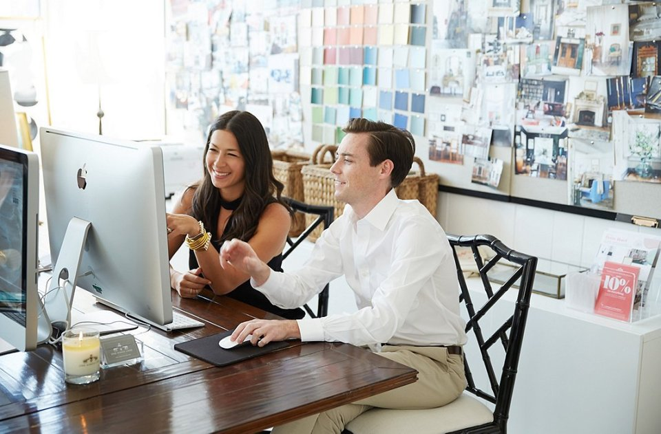 one kings lane_rebecca minkoff_REBECCA WITH ALEX IN STUDIO