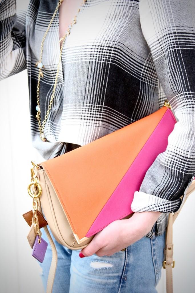 Plaid Topshop shirt and ClaudiaG bag