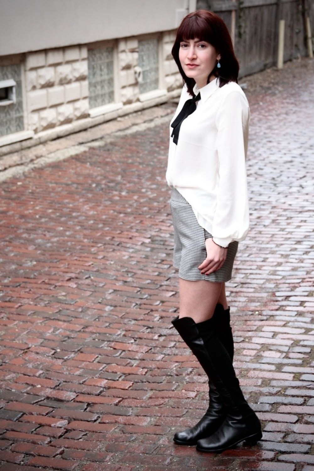 express high waisted shorts and pussy bow blouse, stuart weitzman over the knee boots