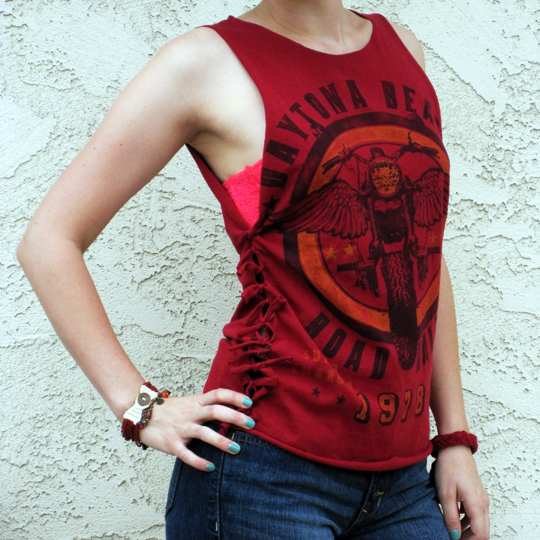 Friday diy t shirts tanks delightfully kristi for How to make a tie back shirt