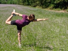 Virginia (Ginger Hill), Yoga Instructor, in modified Natarajasana, JAX-Balwin Trail, 2016