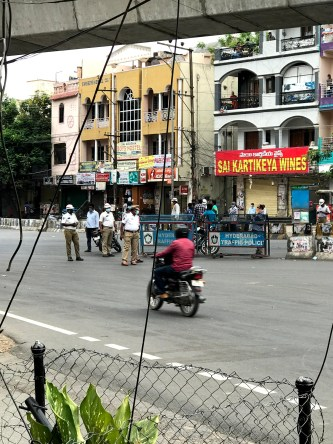 Police Check Post In Hyderabad