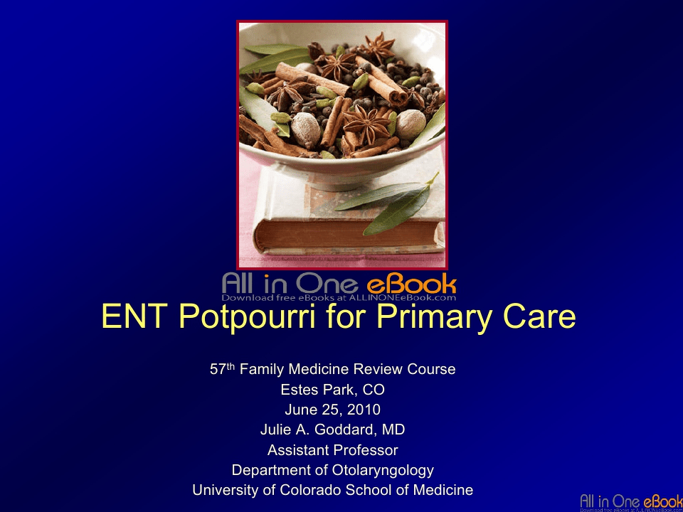 ENT Potpourri for Primary Care Free Download