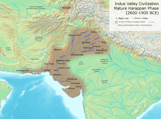 MAP Indus_Valley_Civilization,_Mature_Phase_(2600-1900_BCE)