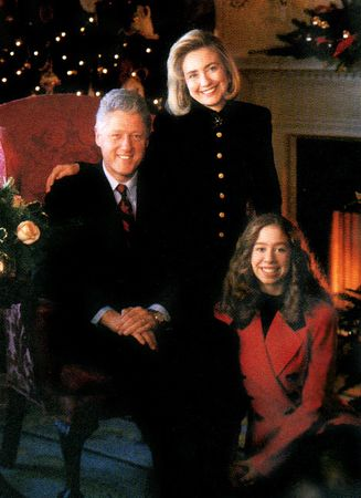 The Clintons in a Christmas portrait