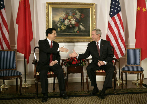 President Bush with China's President and Communist Party leader Hu Jintao