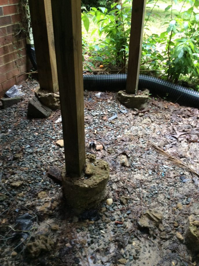 Erosion of soil around footings can be a serious problem.