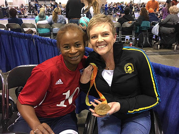 Dawna (right) pictured here with Army Veteran and 3x Paralympic medalist in sitting volleyball, Kari Miller Ortiz