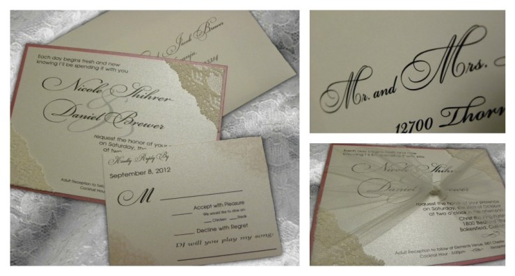 Cheap Shabby Chic Wedding Invitations: Nicole + Daniel's Shabby Chic Lace Wedding Invitations