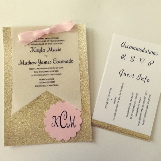 glitter wedding invitations in gold glitter with pink ribbon  and glitter wedding inserts created by All in the Invite