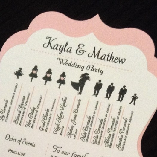 Lovely silhouette die cut fan. Congrats to Kayla & Mathew! Today is their wedding day!! #allintheinvite #wedding #weddingfan #fan
