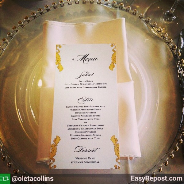 Elegant floral wedding menu. Thank you @flourishingart for posting the beautiful pictures!! #allintheinvite #weddingmenu #wedding