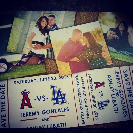 Baseball theme Save the Date cards! These were so much fun to create! #allintheinvite #sportsthemewedding #sportsthemed #wedding #baseballlove #baseballtheme