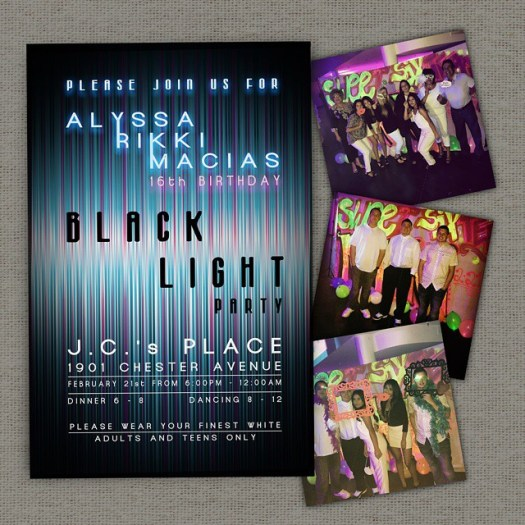 Black light parties are one of the coolest looking and most fun to attend & this party was guaranteed to light every one up! Glow on! #allintheinvite #blacklightparty #blacklight #custominvitation #birthdayinvitation #sweet16