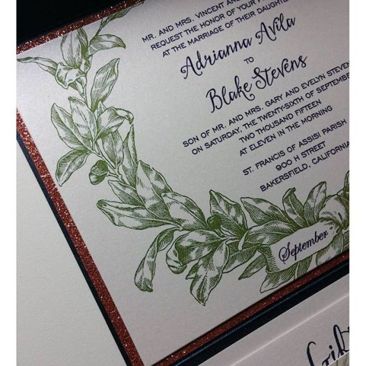 Adrianna & Blake #rosegold #glitter #weddinginvitation #allintheinvite
