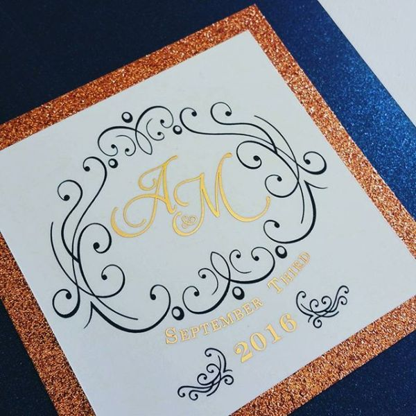 I have gotta say this wedding invitation is looking pretty darn fabulous! #allintheinvite #rosegold #weddinginvitation #monogram #weddingwednesday