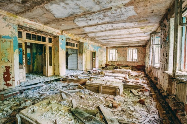 Dilapidated passage in school of Pripyat. Chernobyl Disaster