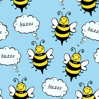 Happy bee seamless pattern