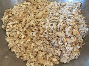 Granola after combining the dry and wet ingredients.