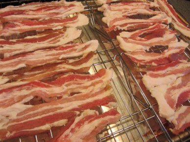 Cooking bacon the Alton way - on a rack in a cold oven set to 400 degrees.