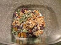 Dried cherries, golden raisins, walnuts, fresh sage, Kosher salt, and pepper.
