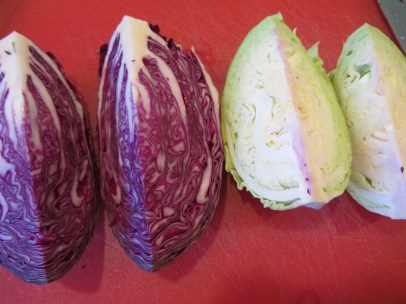 Half a head each of red and green cabbage.