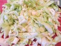 Half a head of green cabbage, sliced.
