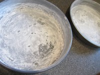 Greased and floured 9-inch cake pans.