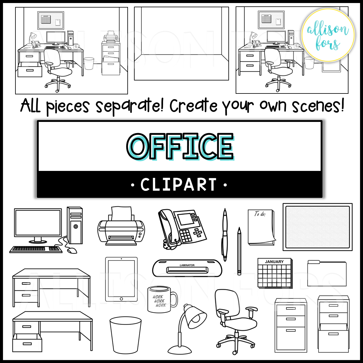 Office Clipart Set Build Your Own Scene