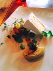 Kurtwood farm dinah's camembert, gruyere shortbread, melted leek, fennel honey, grilled apple, pistachio
