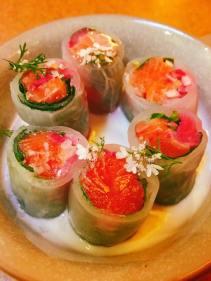 salmon spring roll with charred jalapeño 'crema' 8