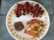 Gluten free waffle, turkey sausage & skillet peppers/tomato/egg