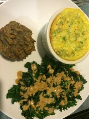 Southwestern souffle w/kale salad & coconut bread