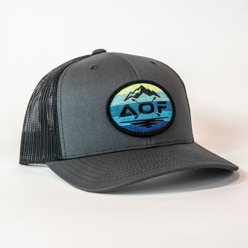 allison outfitters grey slack tide trucker hat