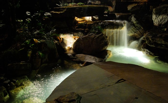 Waterfall landscaping at night