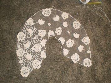 Irish crochet shawl in process